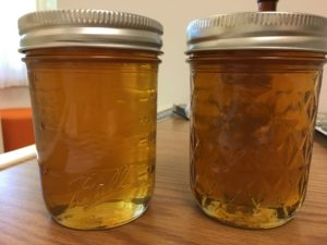 Glass jars of honey
