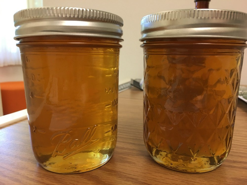 Glass jars of honey