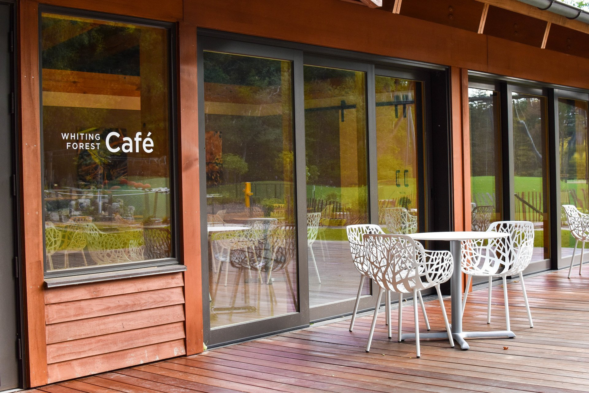 Cafe exterior view with deck